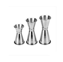 Wholesale Measuring Cup Steel - Jigger Shot Glasses Measuring Cups Cocktail Shaker Stainless Steel Ounce Glass Wineglass Drinking Mug Measure Cup