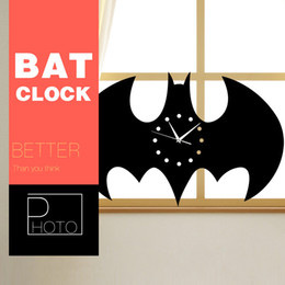 Wholesale Holiday Watches - 3D Clock Bat Shape Children Bedroom Decals reloj de pared digital Wall Watches Holiday decor Batman Living Room Wall Clock 35*21cm
