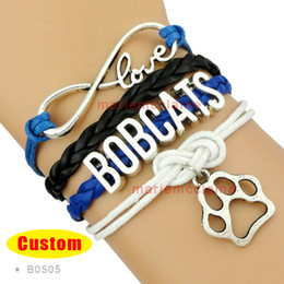Wholesale Dog Poodles - (10 Pieces Lot) Infinity Love Dog Bracelet Poodles Bobcats In Memory Of My Doggie Cats Bracelet Leather Wrap Custom Any Themes Drop Shipping