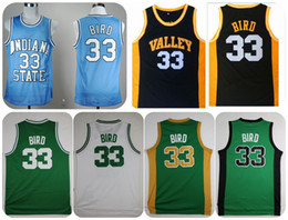 Wholesale Throwback Indiana State Sycamores Larry Bird College Basketball Jerseys New Valley High School Larry Bird Stitched Yellow Red Shirts