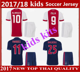Wholesale Dry Tops - kids kits 2017 2018 Ajax Home soccer Jersey KLAASSEN MELIK DIJKS EL GHAZI YOUNES Top quality 17 18 Ajax away Jerseys football shirts