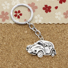 Wholesale Vw Beetle Keys - 15pcs Fashion Diameter 30mm Metal Key Ring Key Chain Jewelry Antique Silver Plated car vw bug beetle herbie 39*26mm Pendant