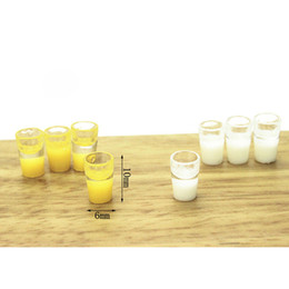 Wholesale Dollhouse Cups - Wholesale- 1 12 Dollhouse Miniatures 4 Cups of Orange Juice & 4 Cups of White Milk Doll House Decor Pretend Play Classic Toys for Child Kid