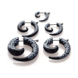 Wholesale Ear Piercings Tapers - 10pcs Acrylic Spiral Fake Ear Stretcher Jewelry Totem Taper Gauges Expanders Ear Plugs Flesh Tunnel Piercing 3 4 5 6 8mm