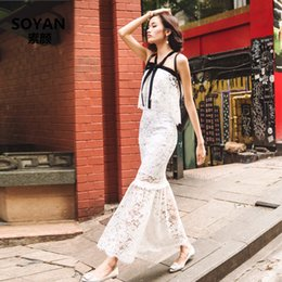 Wholesale Hollow Chest Peplum Dress - 2017 summer new fashion lace bow tie elastic thin chest shawl Slim was thin dress women's clothing