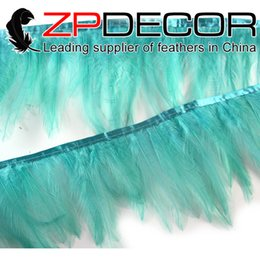 Wholesale Eco Aqua - ZPDECOR Export Factory Most Popular 5-6 inch Eco-friendly Colored Aqua Green Rooster Hackle Feathers Trim for Sale