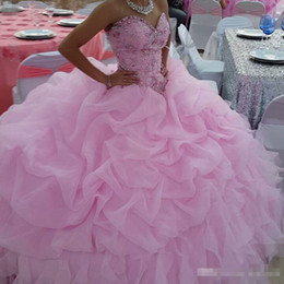 Wholesale Cheap Girls Dress Up - Custom Made Pink Girls Sweetheart Quinceanera Dresses Beaded Sweetheart Ruffles Organza Lace Up 2017 Cheap Plus Size Debutante Prom Gowns