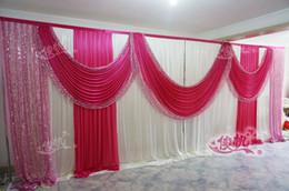 Wholesale Cake Icing Decor - 3M*6m Sequins Beads Edge Design ice silk Wedding Backdrop Curtain with Sequins Swag for wedding Decor Prop Backdrop Decorations