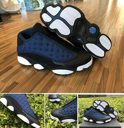 Wholesale Shoe Bags Satin - Top Quality Retro 13 Low Navy blue Wholesale Basketball Shoes Men size With Box Bag Card