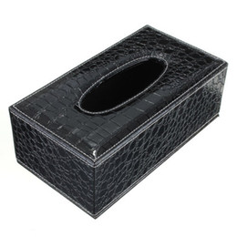 Wholesale Napkins Box Cover Case - Wholesale- GSFY-Durable Home Car Rectangle PU Leather Tissue Box Paper Holder Case Cover Napkin(black Crocodile Grain)