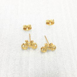 Wholesale Bicycle Jewelry Women - High Quality Bike Stud Earrings Stainless Steel Bicycle Stud Earrings Bike Cycle Shape Brincos for Men Women Minimalism Jewelry