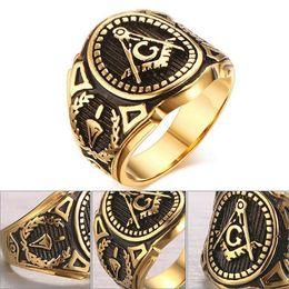 Wholesale Man Yellow Diamond Ring - Stainless Steel Golden Antique Masonic Master Free Mason Freemason Signet Symbol Finger Band Templar Ring Tungsten Men