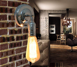 Wholesale Antique Industrial Light Fixtures - chrome With switch DIY Wall light fixture E27 plated Loft american retro vintage iron wall lamp 90V-240V 40W Antique lamp industrial sconce