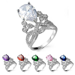 Wholesale Austrian Crystal Rhinestone Rings - Gemstone Rings 18K Real Gold Plated Statement Women Silver Engagement Rings 6 Colours Austrian Crystal Rings