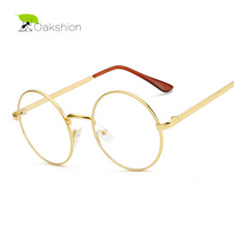 Wholesale Korean Retro Eyeglasses - Wholesale- Korean Gold Glasses Frames Nerd Glasses Eyeglasses Frame Metal Optical Glasses Round Retro Female Clear Lens Transparent Eyewear