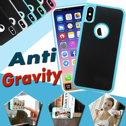 Wholesale Sticky For Iphone - Anti-gravity Nano-adsorption Selfie Hybird TPU PC Sticky Antigravity Magic Anti-fall Cover Case iPhone X 8 7 plus 6S 5S Samsung S8 Note 8