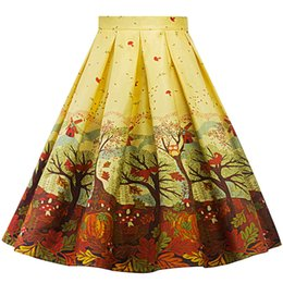 Wholesale ladies floral knee length skirts - Gold Autumn Pleated Skirt Dress 1950s Retro Rockabilly Hephurn High Waist Flower Print Pleated Midi Dress Cute Tutu for Women Ladies Girls