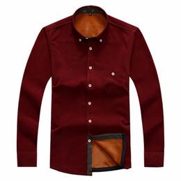Wholesale Thick Warm Winter Mens Shirts - Wholesale- Tengo Men Shirt Warm Long Sleeve Shirts Winter Autumn Mens Thick Corduroy Brand Quality Casual Dress Shirt Male Shirts Plus Size