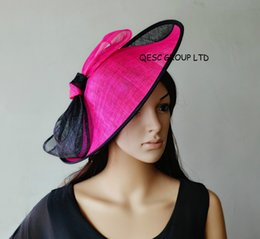Wholesale Hot Pink Wedding Hat - NEW COLOUR Hot pink fuchsia black big Sinamay fascinator hat for kentucky derby ,wedding party,races.