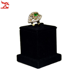 Wholesale Stand Jewelry Wedding - Newes Wedding Jewelry Organizer Holder Black Velvet Jewelry Ring Display Tower Holder Wooden Ring Stand 5*5*5.5CM