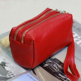 ladies small wallet Coupons - Wholesale- Double zipper Genuine Leather Coin Purse Women's leather Wallet First Layer Cowhide Pouch for Iphone Small Change lady bag