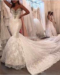 Wholesale Satin Corset Bodice Wedding Gown - Luxury Plus Size Lace Mermaid Wedding Dresses Crystals Corset Back Chapel Train 2017 Vintage Sweetheart Bridal Dress Sheer Wedding Gowns