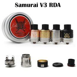 Wholesale Samurai Metal - Samurai V3 RDA Atomizer Samurai Comp V3 Peek Insulators Adjustable Airflow Fit 510 E Cigarette High Quality