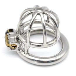 Wholesale Newest Chastity Devices - 2017 Newest Super Small Men's Stainless Steel Chastity Device Cock Cage Penis Lock Adult BDSM Sex Toys
