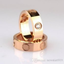 Wholesale Wholesalers For Silver Rings - titanium steel love screw ring silver rose gold ring for lovers 6mm width