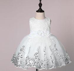 Wholesale Baby Girl Dresses For Summer - Girls Dress for Kids 2017 Summer 3D Flower Sleeveless Sequins Baby TUTU Dress Fashion Bowknot Kids Princess Party Dress 7-24M