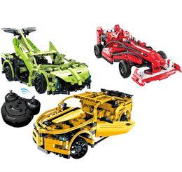 Wholesale Plastics Machinery - new 3 models Educational model technology machinery series 3D blocks remote control super sports racing car assembles toy drive