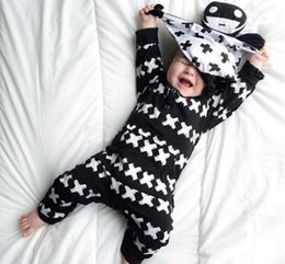 Wholesale Toddlers Romper Patterns - New Fashion baby clothes set men's cotton long-sleeved Cross Pattern Toddlers romper newborn baby boy girl clothes set