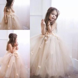 Wholesale Handmade Tulle Tutu - Light Champagne Flower Girls Dresses Puffy Long Tutu Skirt Handmade Flowers Girls Pageant Dress Princess Kids Formal Wear Birthday Dress