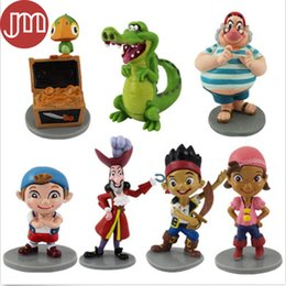 Wholesale Jake Neverland Toys - New 7 PCS Jake and The Neverland Pirates Playset Action Figure Toys Cake Toppers Kids Doll Gift Anime Brinquedos