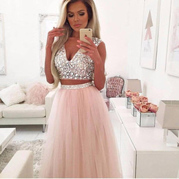 Wholesale Neck Design For Dress Piece - 2018 New Design Cheap Two Pieces Prom Dresses Sexy V Neck Beaded Crystals Tiered Tulle Formal Evening Party Gowns Cheap Dress for Women