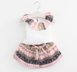 Wholesale Chiffon Girls Pants - 2017 Girls Childrens Clothing Sets Chiffon Shirts Shorts Pants 2pcs Set Summer Sleeveless Girl Kids Tops Outfits Enfant Boutique Clothes