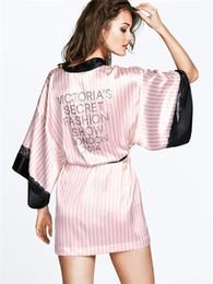Wholesale Sexy Pajamas For Women - Wholesale- Sexy Secret Women Kimono Bathrobe Soft Silk Slip Satin Robes for Pajamas Party ,Pink Striped Lace Robe Sleepwear Peignoire