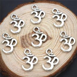 Wholesale Aum Ohm - Wholesale- 15pcs 15*10mm New Wholesale Antique Silver Alloy Metal Mantra Sign Aum Ohm Yoga OM Charm Pendant Fit Diy Handmade Jewelry Making