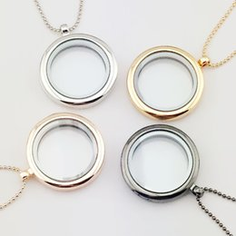 Wholesale Glass Photo Locket Stainless Steel - 4 Colors Glass Locket Necklace Can Be Opened to Put Photo Memory Pendant Charming Ladies Round Frame Necklace Jewelry Accessory Wholesale