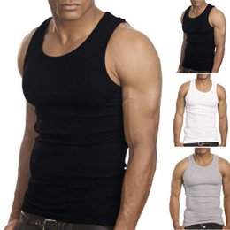 Wholesale Muscle Top Wholesale - Wholesale- Muscle Men Top Quality 100% Premium Cotton A-Shirt Wife Beater Ribbed Tank Top