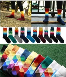 Wholesale Diamond Huf - Casual Mens Cotton Colorful Happy Socks Harajuku Gradient Color Business Dress Socks Diamond Plaid Long Socks calcetines