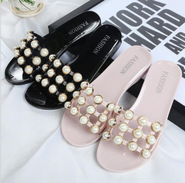 Wholesale Beach Wedge Sandals Flip Flops - Women Sandals Flips Flops 2017 Summer Style Shoes Woman Wedges Sandals Fashion Rivet Pearl Platform Female Slides Ladies Shoes