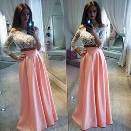 Wholesale Cheap Satin Long Skirt - Off The Shoulder Two Pieces Party Dresses With3 4 Long Sleeves Lace Top Satin Skirt Homecoming Dress Cheap Floor Length Prom Dreess