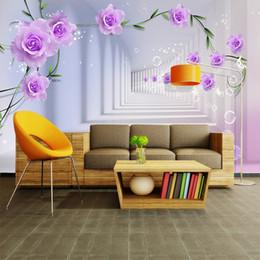 rosen stereos Rabatt Benutzerdefinierte 3D Fototapete Europäischen 3D Stereo Lila Rosen Große Wandbild Wohnzimmer Schlafzimmer TV Hintergrund Wandbild Tapete