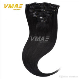 Wholesale Double Drawn 1g Hair Extensions - Clip In Human Straight Hair Extensions 1g strand Double Drawn Customized Weight 100g-300g with 8PCS 19CLIPS 9A NATURAL COLOR BUG #613 #6 #27