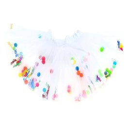 Wholesale Xl Girls Birthday - Princess White Girl Tutu Skirts With Sequin Happy Birthday And Pompoms Children Tulle Skirt