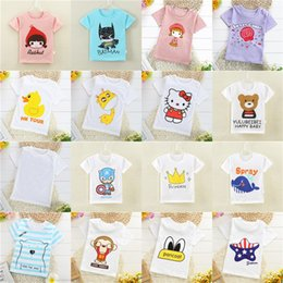 Wholesale Cheap Cotton Baby Clothes - Summer Baby T-shirts Boys Girls Cartoon Cotton Tops Tees Solid Color Short Sleeve T-shirt 2017 Kids Clothes Cheap Free DHL 182