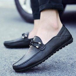 Wholesale Opening Drive - High Quality Genuine Leather Men Shoes Soft Moccasins Loafers Fashion Brand Men Flats Comfy Driving Shoes England men's casual shoes