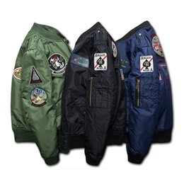 Wholesale Badge Embroidery Designs - Thick cotton padded clothes air force pilot jacket couples MA1 charge embroidery badges popular logo clothing baseball jacket