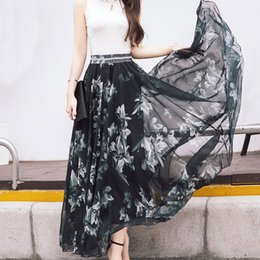 Wholesale Long Chiffon Skirt Pattern - M to XL Hot Newest 12 Patterns Peacock Feather Elastic Waist Expansion Bottom Printed Fake Silk Full Long Chiffon Maxi Skirt